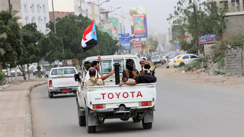 UAE-backed southern separatists have taken over government buildings in Aden [Fawaz Salman/Reuters]