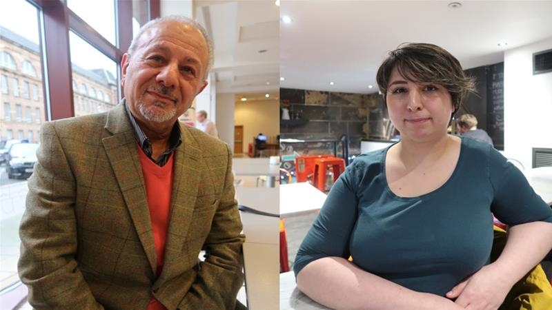 From left: Firooz, who fought in the Iran-Iraq war during the 1980s, and Shabi Forsyth, 24, a law graduate [Robert Somynne/Al Jazeera]