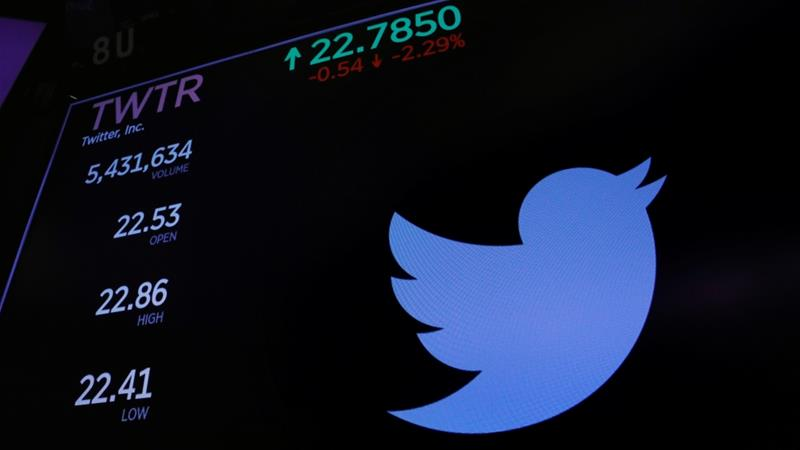Twitter logo and stock prices, New York Stock Exchange, New York, US, January 23, 2018 [Photo/Lucas Jackson/Reuters]