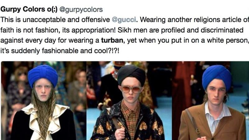 Twitter users lashed out at the Italian designer brand for using white models to appropriate the Sikh turban [Screenshot from Twitter/@gurpycolors]