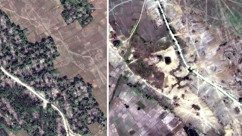 A satellite image shows evidence of bulldozed homes in the village of Myin Hlut [DigitalGlobe/AP]