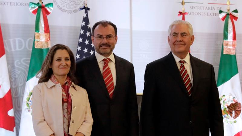 Canadian Foreign Minister Chrystia Freeland, Mexican Foreign Minister Luis Videgaray and US Secretary of State Rex Tillerson, Mexico City, Mexico February 2, 2018 [Photo/Henry Romero/Reuters]