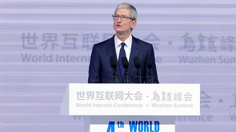 Apple CEO Tim Cook, at the fourth World Internet Conference in Wuzhen, Zhejiang, China, December 3, 2017 [Photo/Aly Song/Reuters]