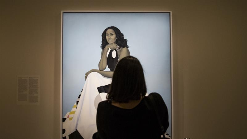 Michelle Obama portrait at the National Portrait Gallery, Washington, DC, United States, on February 16, 2018 [Reuters]