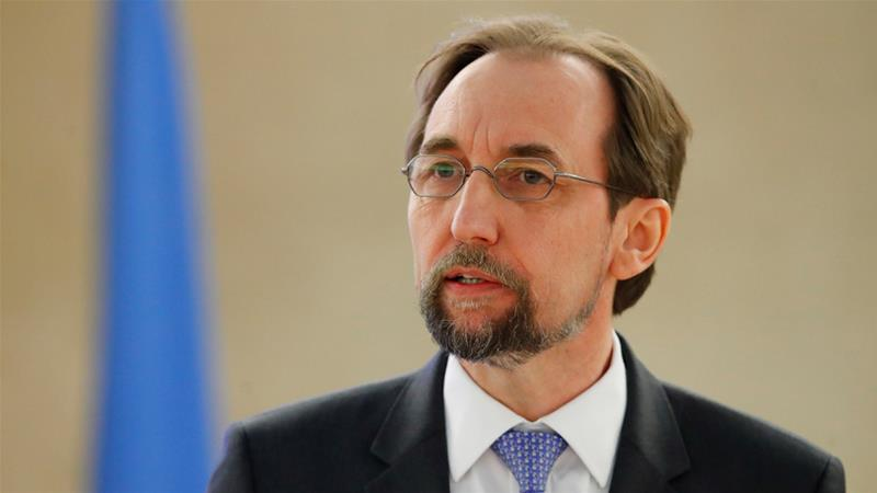 Zeid Ra'ad al-Hussein addresses the Human Rights Council at the UN in Geneva, Switzerland on Monday [Denis Balibouse/Reuters]