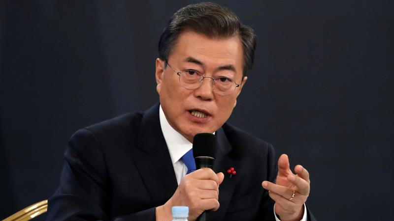 South Korean President Moon Jae-in at the Presidential Blue House in Seoul,  South