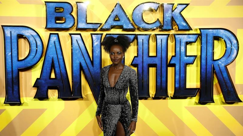 Actor Lupita Nyong'o arrives at the premiere of Black Panther in London, February 8, 2018 [Peter Nicholl/Reuters]