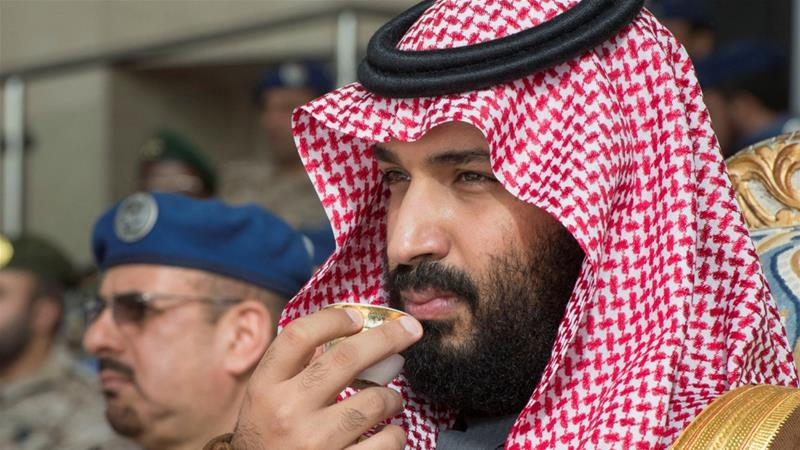 More than 11,000 people have called on May to cancel MBS' visit [Bandar Algaloud/Handout via Reuters]