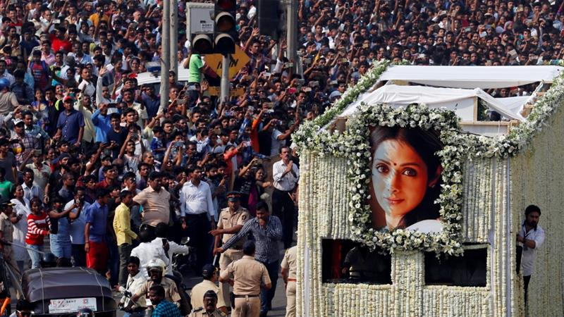 Sridevi, one of India's most celebrated actresses, will be cremated with state honours later on Wednesday [Danish Siddiqui/Reuters]
