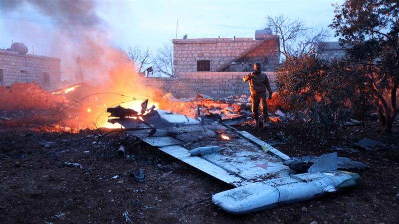 The pilot reportedly ejected himself from the jet but later he was killed [Omar Haj Kadour/AFP]