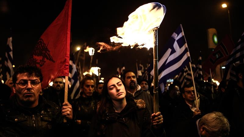 Hundreds of Golden Dawn members in Athens in February [Nick Paleologos/SOOC/Al Jazeera]