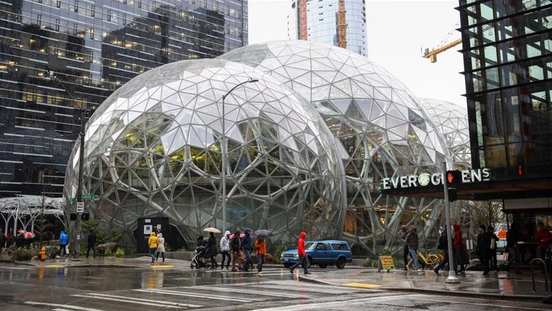 The Amazon Spheres as seen from 6th Avenue at Amazon's Seattle headquarters in Seattle, Washington, US [Photo/Lindsey Wasson/Reuters]