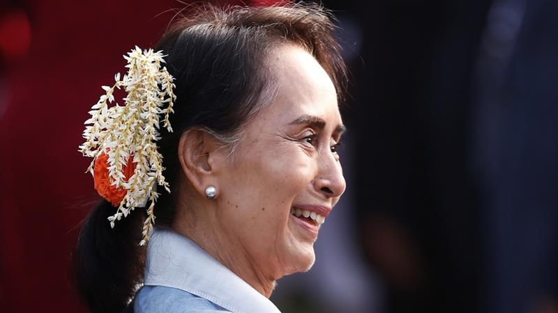 Myanmar's State Counsellor Aung San Suu Kyi during a visit in New Delhi, India, on January 26, 2018 [Photo:Adnan Abidi/Reuters]