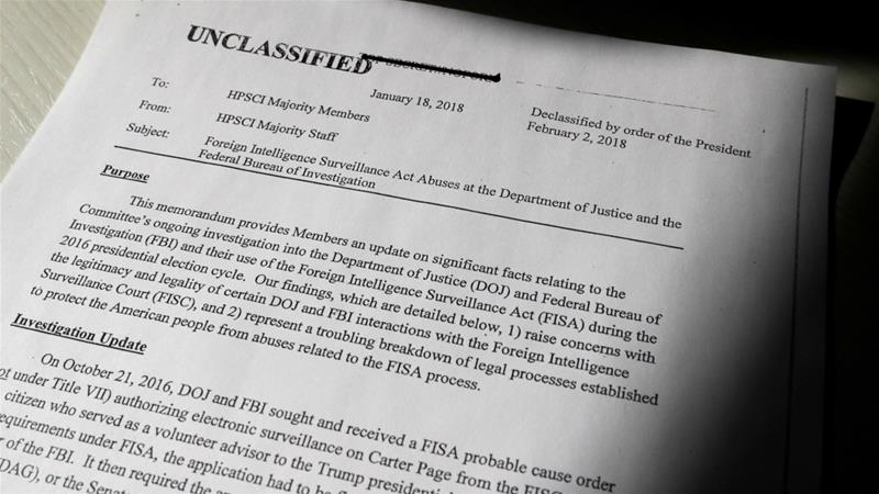 The top secret classified memo written by House Intelligence Committee Republican staff was declassified for release by US President Donald Trump on 2 February 2018 [Jim Bourg/Reuters]