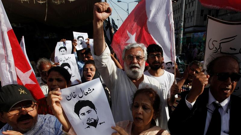 Khan's murder sparked national outrage and protests across the country [File: Akhtar/Reuters]