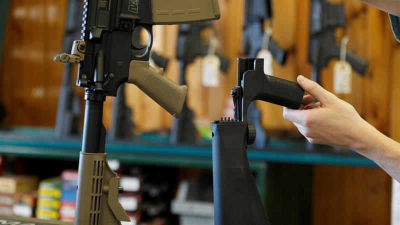 Bump stock modifications increases the rate of fire of semi-automatic assault rifles [George Frey/Reuters]