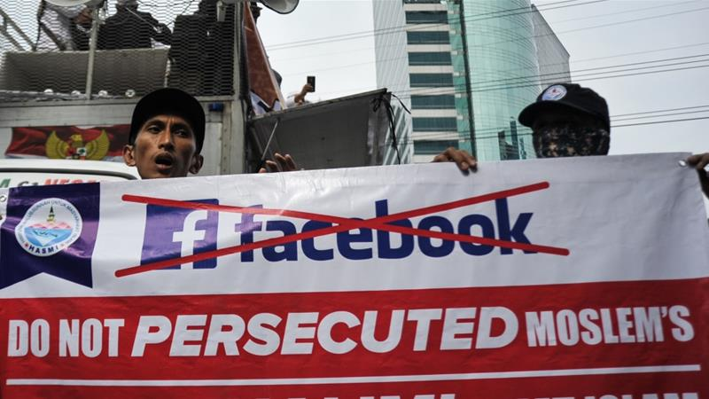 Protest against Facebook in Jakarta-Indonesia on January 12, 2018. [Anadolu]