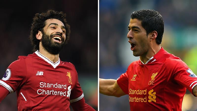 Mohammed Salah on the left, Luis Suarez on the right [Credit: Premier League]