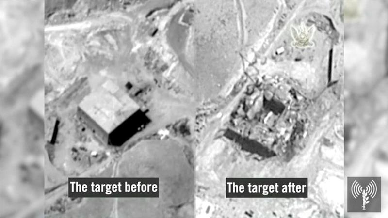 A before and after photo of a suspected Syrian nuclear reactor site near Deir Az Zor [Israeli military/Reuters]
