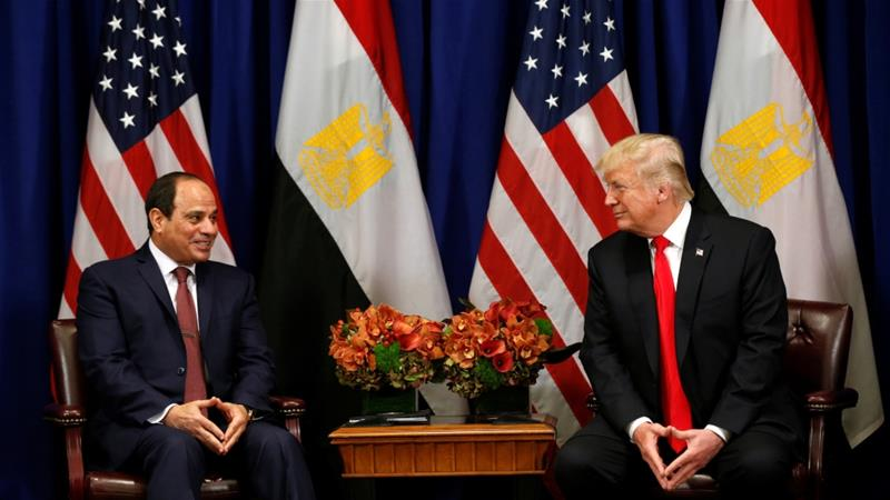 US President Donald Trump meets with Egyptian President Abdel Fattah al-Sisi during the UN General Assembly in New York, September 20, 2017 [Kevin Lamarque/Reuters]