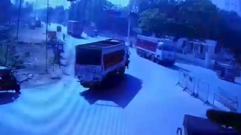 In the video footage, Sharma was seen on a motorbike before being run over by a truck [CCTV screenshot]