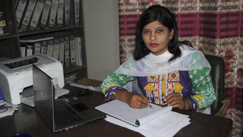 Feb. 12, 2018 file photo, Krishna Kumari, from the Pakistani Hindu minority, works in her office in Hyderabad, Pakistan. Pakistanis have elected Kumari on Saturday, March 3, 2018 to the senate for the first time ever. [Photo/Pervez Masih/AP]