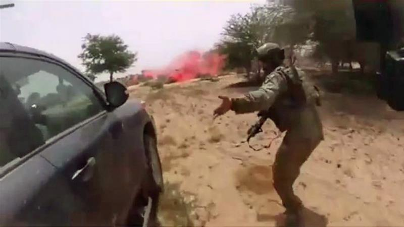 This video screengrab apparently shows the October 4, 2017 ambush of American and Nigerien soldiers in Tongo Tongo, Niger [Via AFP]