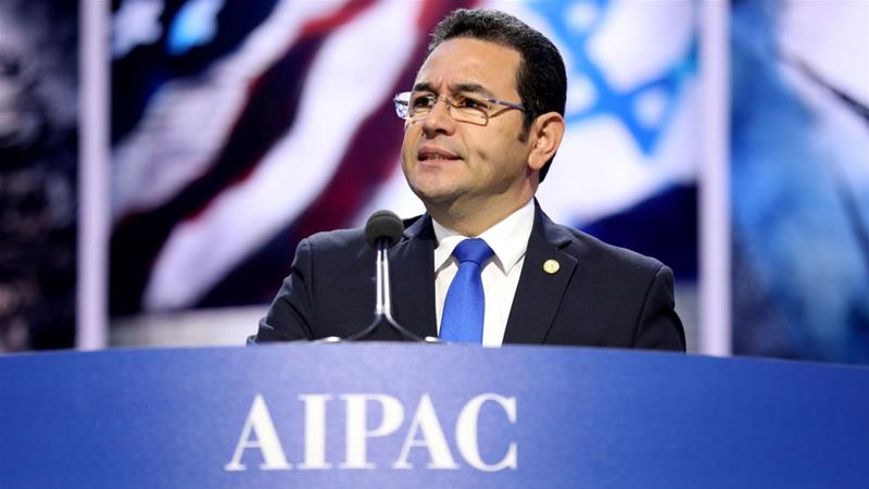 Guatemalan President Jimmy Morales spoke at the AIPAC conference in Washington, DC [Reuters]