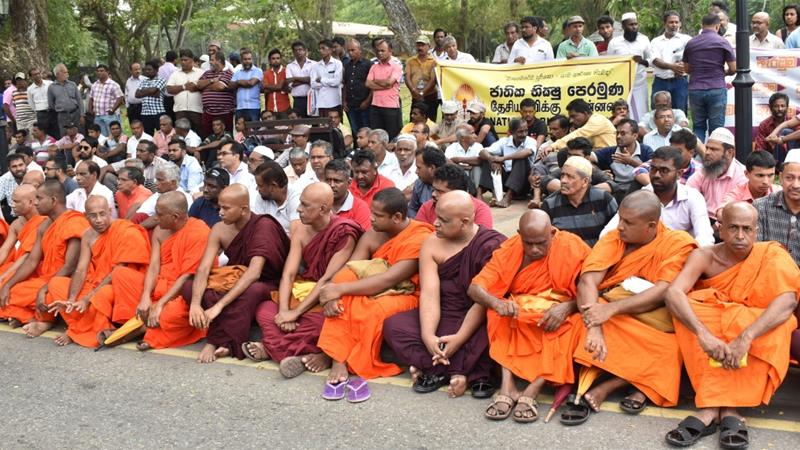 The National Bhikku Front said it organised the silent protest against communal clashes [AFP]