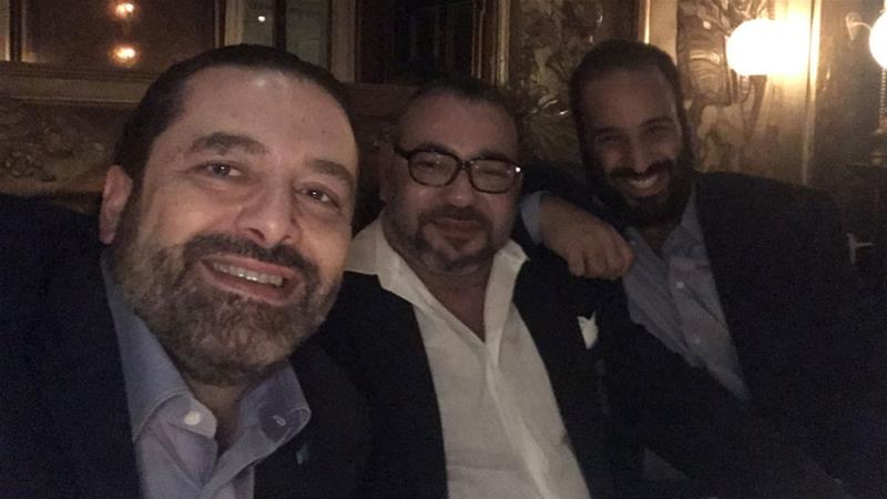 The photo was taken at the five-star King George V Hotel in Paris [Screengrab/Twitter/Saad Hariri]