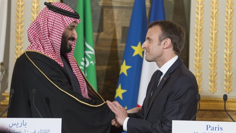 Saudi crown prince and France's president held a joint press conference at the Elysee Palace in Paris [Bandar Algaloud/Saudi Kingdom Council]