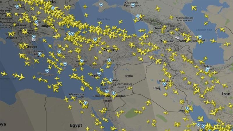 A map showing diverted flights after Eurocontrol issued warning to avoid Syria [Courtesy of FlightRadar24]