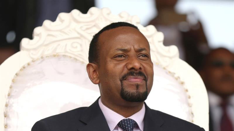 Ethiopia's newly elected Prime Minister Abiy Ahmed attends a rally during his visit to Ambo in the Oromiya region, Ethiopia on April 11, 2018 [Tiksa Negeri/Reuters]