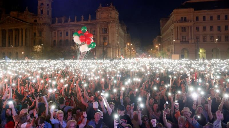 Viktor Orban's victory prompts protest in Budapest