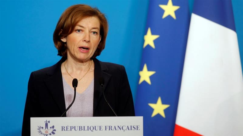 Parly said France notified Russia of the strikes ahead of time [Michel Euler/Pool via Reuters]