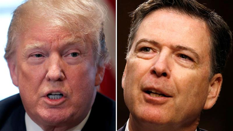 A combination of file photos show US President Donald Trump in the White House and former FBI Director James Comey on Capitol Hill [Files: Carlos Barria/Jonathan Ernst/Reuters]