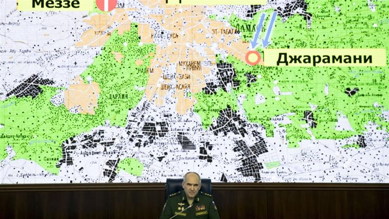 Colonel-General Sergei Rudskoi speaks during a briefing at the defence ministry in Moscow in the aftermath of US-led strikes on Syria on April 14, 2018 [AP Photo/Pavel Golovkin]
