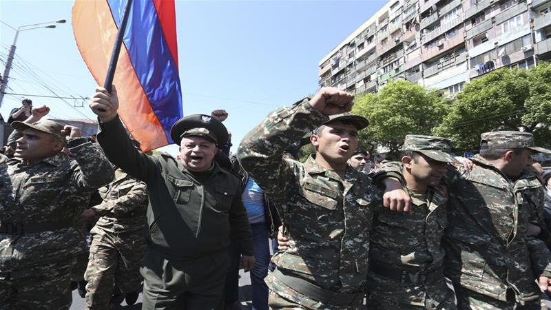 People march during a protest against the appointment of Serzh Sarksyan as the new prime minister in Yerevan, Armenia April 23, 2018 [Vahram Baghdasaryan/Reuters]