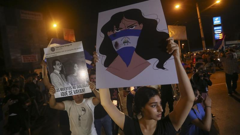 Demonstrators protested in honour of those who have died during anti-government protests in Managua, Nicaragua on Tuesday [Alfredo Zuniga/AP Photo]