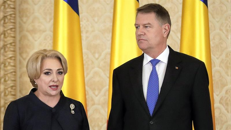 President Iohannis, right, had complained that Dancila failed to consult him on foreign policy matter [AP]