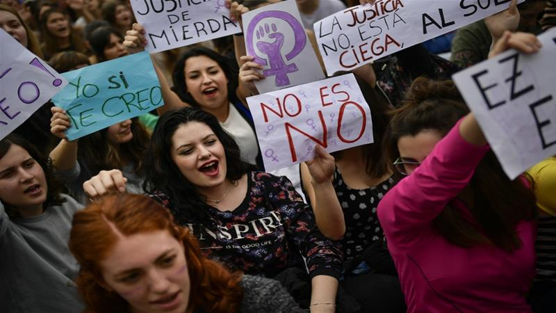 The rape case verdict prompted protests in Spain's northwestern city of Pamplona and across the country [Alvaro Barrientos/AP]