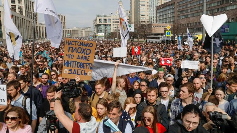 Russian Federation internet freedom: Mass rally in Moscow against Telegram ban