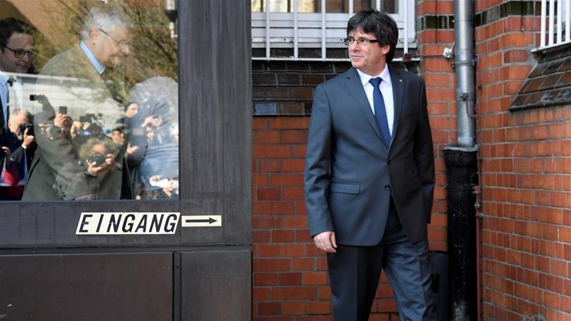 Puigdemont posted bail and left the Nuemuenster prison on Friday [Fabian Bimmer/Reuters]