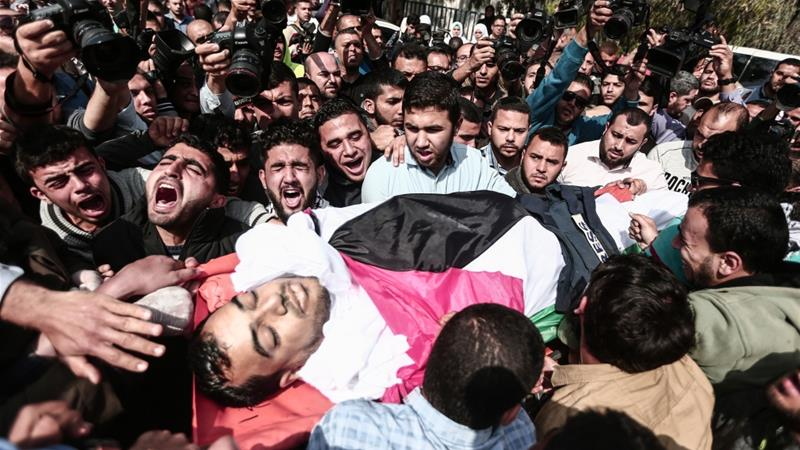 "Funeral of the Palestinian reporter shot by Israeli forces- Yassser Murtaja (30), a Palestinian news reporter, who was shot by  shot by Israeli forces while covering a rally within the ""Great March of Return"" on the Gaza border, is held in Gaza on April 07, 2018.  [Unspecified]"