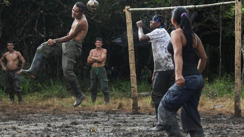 FARC rebels play football at their camp after the 10th Guerrilla Conference in the Yari plains where the peace accord was ratified by the FARC in September 2016 [File: Mario Tama/Getty Images]