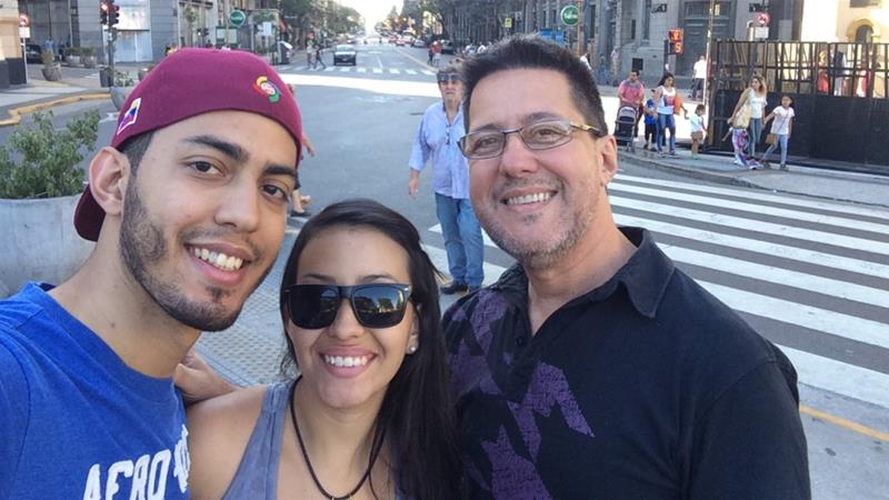 Miguel Rodriguez, his partner Alexa, and Miguel's father in Buenos Aires [Courtesy: Miguel and Alexa Rodriguez)