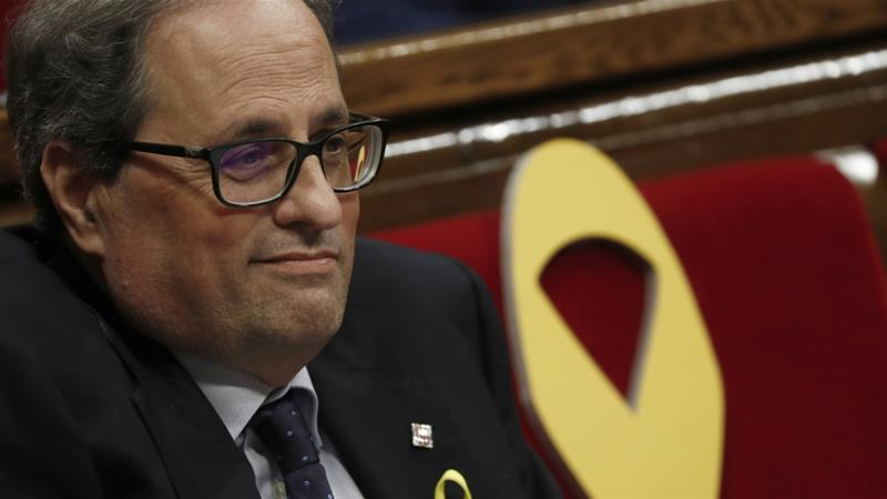 Quim Torra promised to restore Catalonia's laws suspended by Spanish courts [Juan Medina/Reuters]