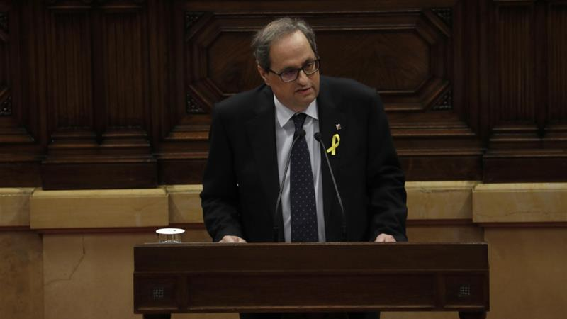 Quim Torra vowed to restore Catalonia's laws suspended by Spanish courts [Juan Medina/Reuters]