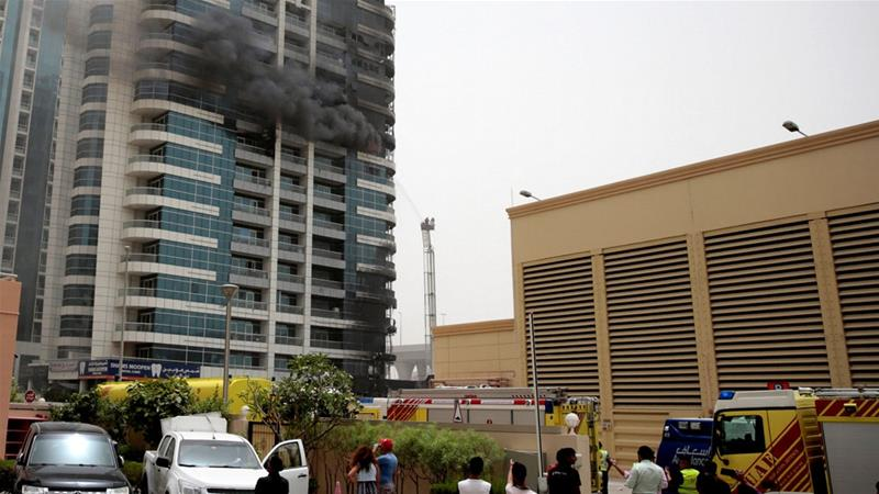 Firefighters responded to a fire that broke out at Zen Tower in the Marina district in Dubai [Christopher Pike/Reuters]
