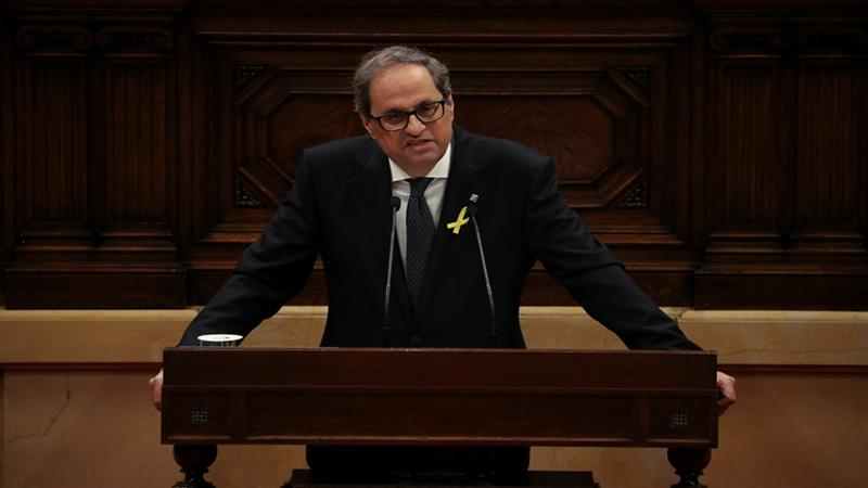 Quim Torra has promised to draft a constitution for a future Catalan Republic [Albert Gea/Reuters]
